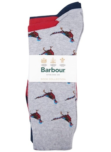 Barbour Barbour Mso0172683 Ny51 Navyred Pheasant Multi Çorap Seti Lacivert